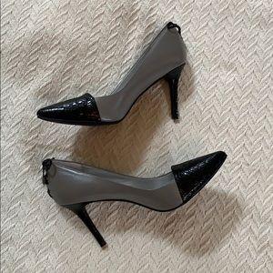 Levity size 8M grey pumps with black cap toe.
